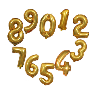 16 Inch Gold Number Balloons