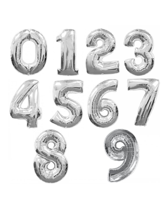 Silver Number Balloon