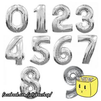 Silver 16 Inch Number Balloons