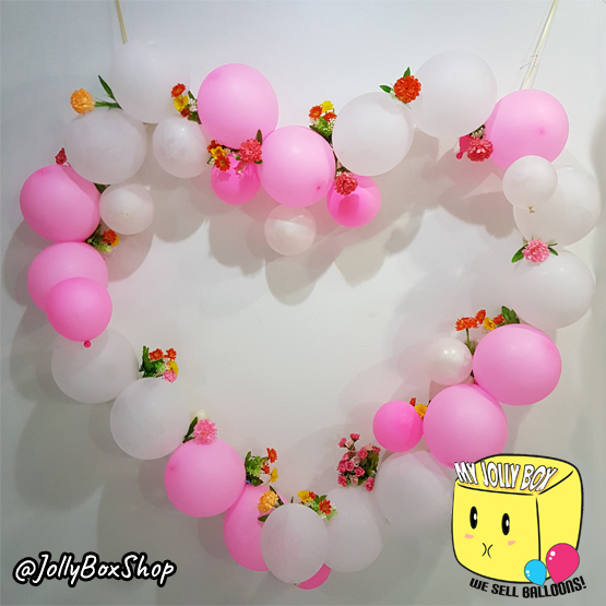 Latex Balloon Hearts with Flowers Banner