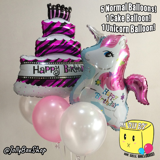Package with Unicorn 5 Balloons and Cake Balloon