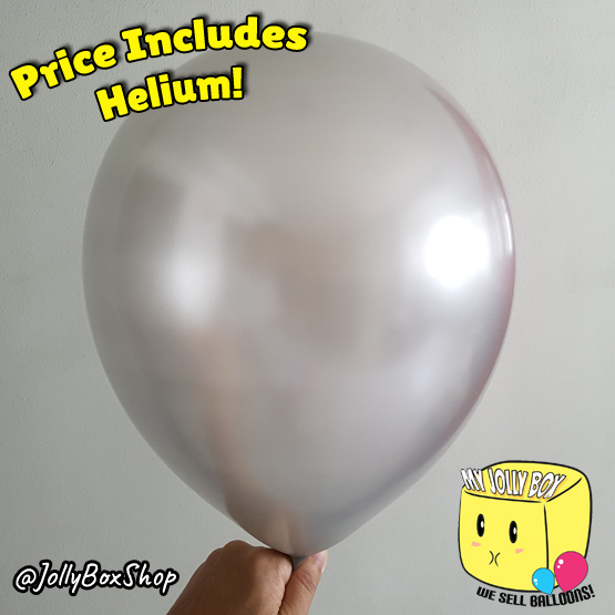 Metallic Silver or Grey Latex Balloon by Jolly Box