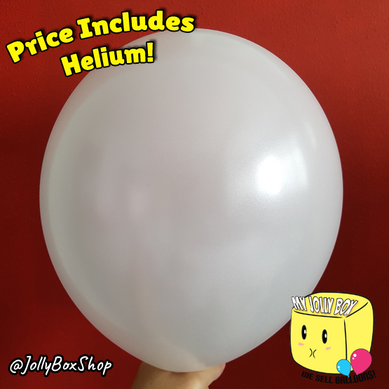 Metallic White Latex Balloon by Jolly Box