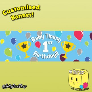 Baby 1st Birthday Banner For Boys With Champion Cups