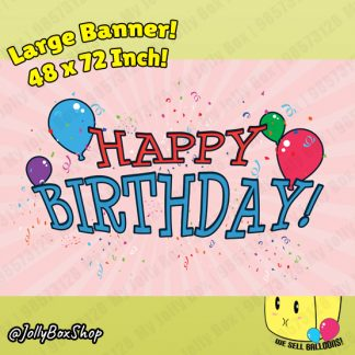 48x72 Inch PVC Banner Happy Birthday Banner with Pink Background