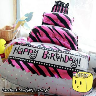 Pink Birthday Cake with Stripes Foil Balloon