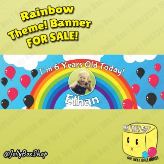 Kids Birthday Banner Rainbow Theme Design B